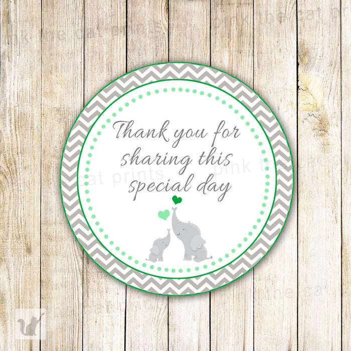 Elephant Gift Favor Label Unisex Baby Shower Tag Lime Green