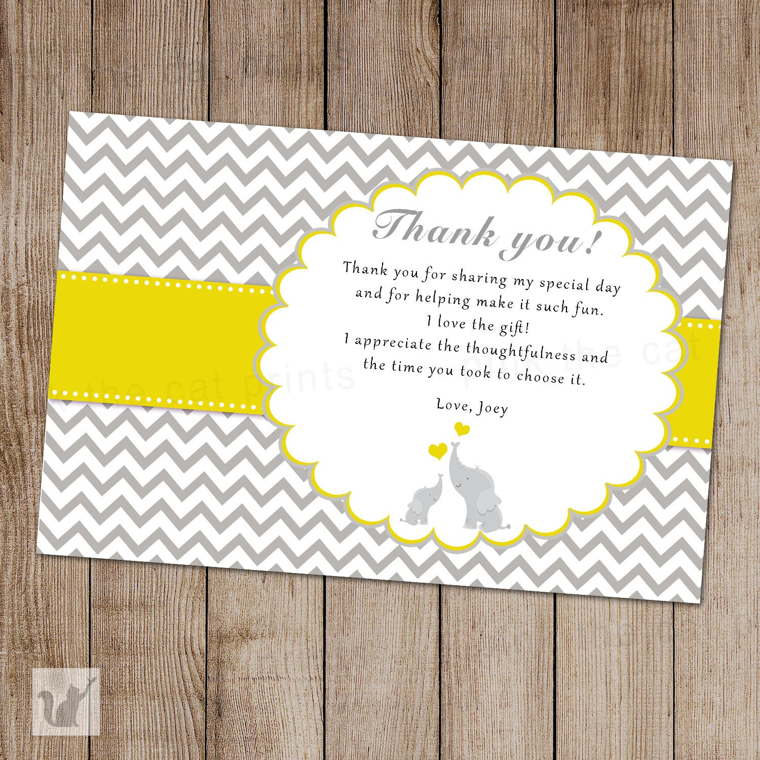 elephant thank you card baby shower yellow grey unisex pink the cat
