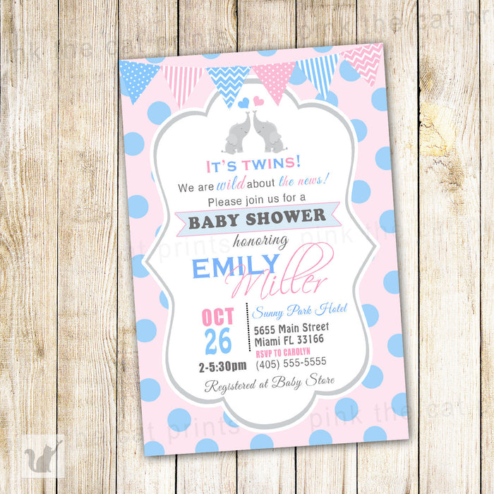 Elephant Invitation Twins Baby Shower Girl Boy