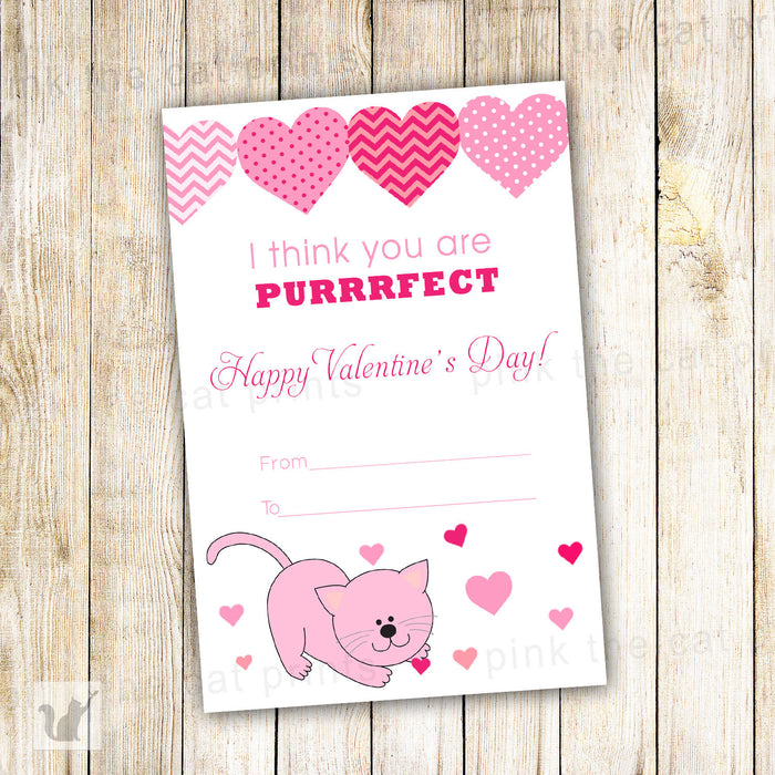Kitten Valentines Greeting Card - You Are Purrfect Cat Printable File