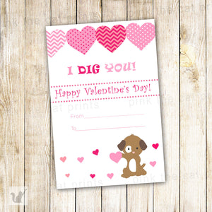 Puppy Valentines Greeting Card - I Dig You Dog Printable File