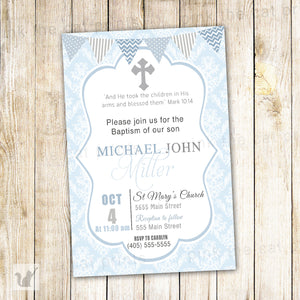 boy baptism blue damask invitation