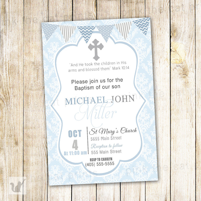 Boy Baptism Invitation Blue Grey Christening