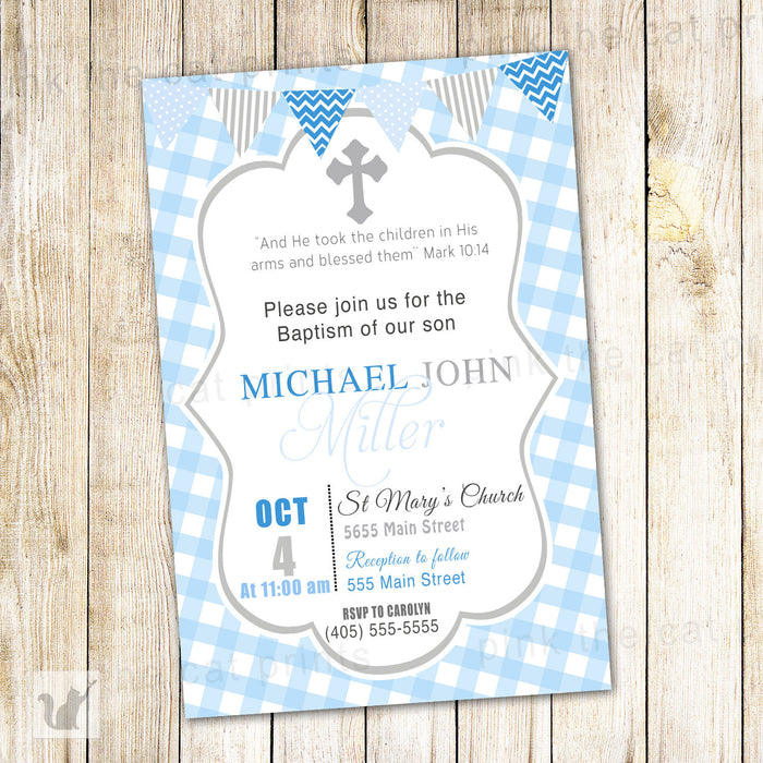 Boy Baptism Invitation Blue Grey Gingham Christening Modern
