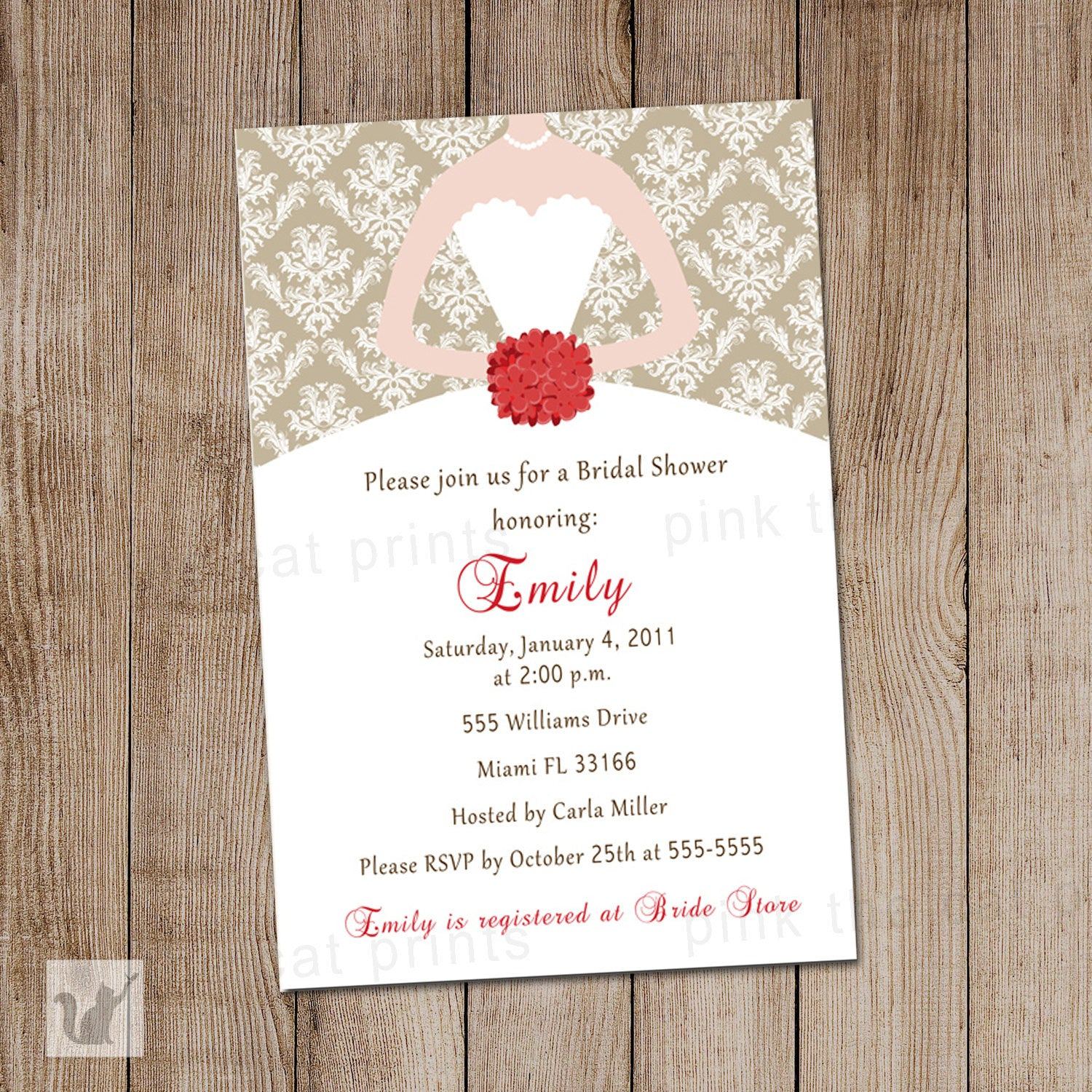 Dress Invitation Red Gold Bridal Shower Sweet 16 – Pink The Cat