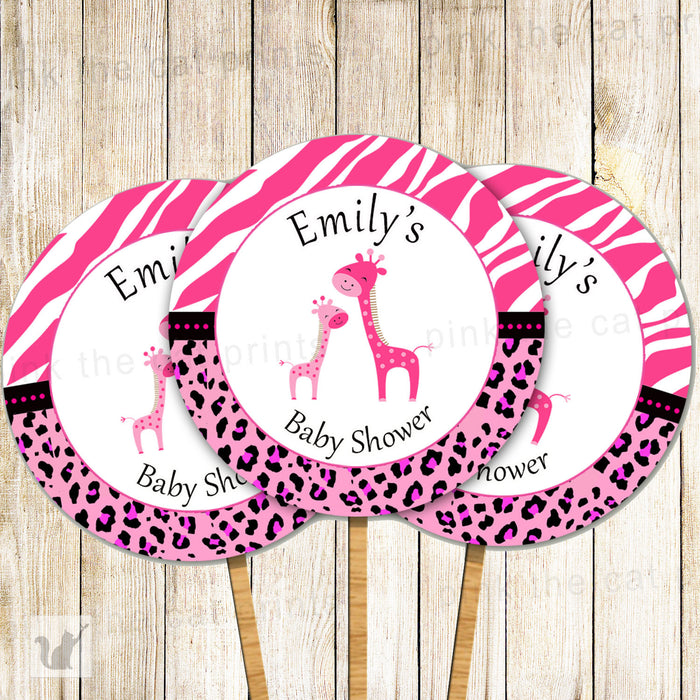 Giraffe Cupcake Topper Baby Shower Hot Pink