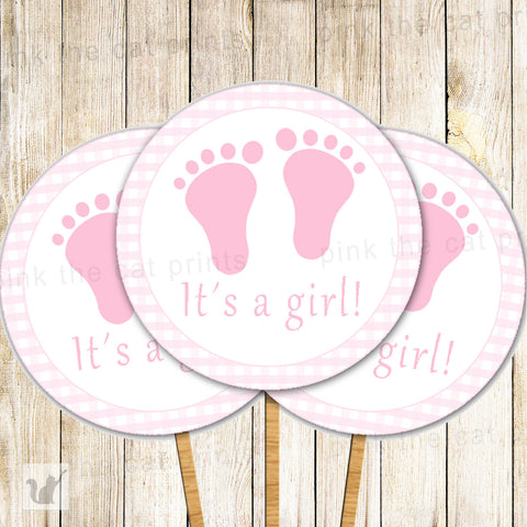 Gingham Cupcake Toppers Baby Girl Shower Pink