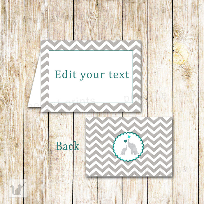 Elephant Buffet Food Label Baby Shower Place Seating Name Card Teal Grey