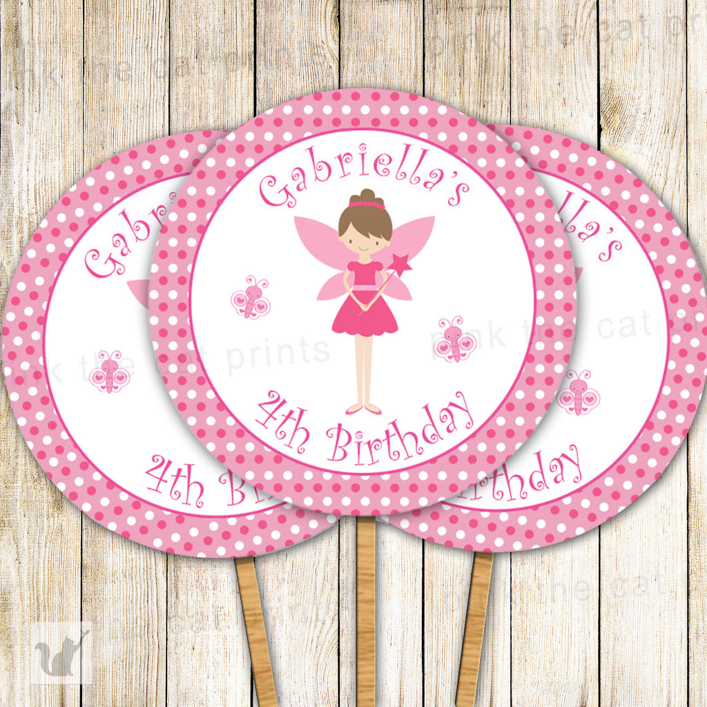 Pixie Cupcake Topper Pink Fairy Birthday