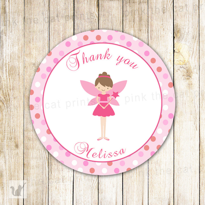 Fairy Favor Labels Birthday Baby Girl Shower Gift Tag Sticker
