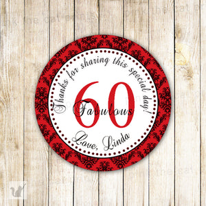 Red Damask Adult Birthday Party Thank You Tag Favor Label Sticker