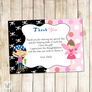 Pirate Fairy Thank You Card Note Pixie Kids Birthday