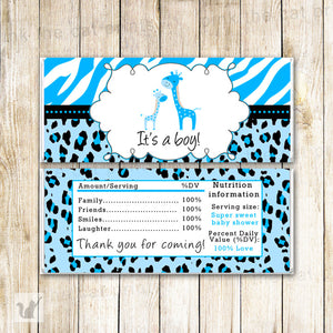 Giraffe Candy Bar Wrapper Baby Boy Shower Blue
