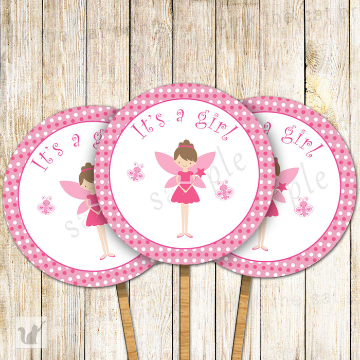 Fairy Cupcake Toppers Pink Pixie Baby Shower