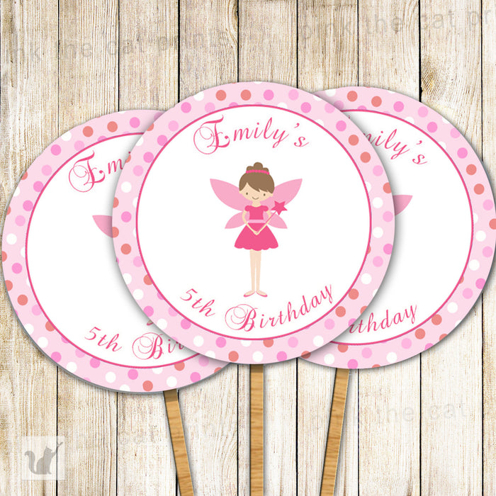 Fairy Cupcake Topper Pink Pixie Birthday
