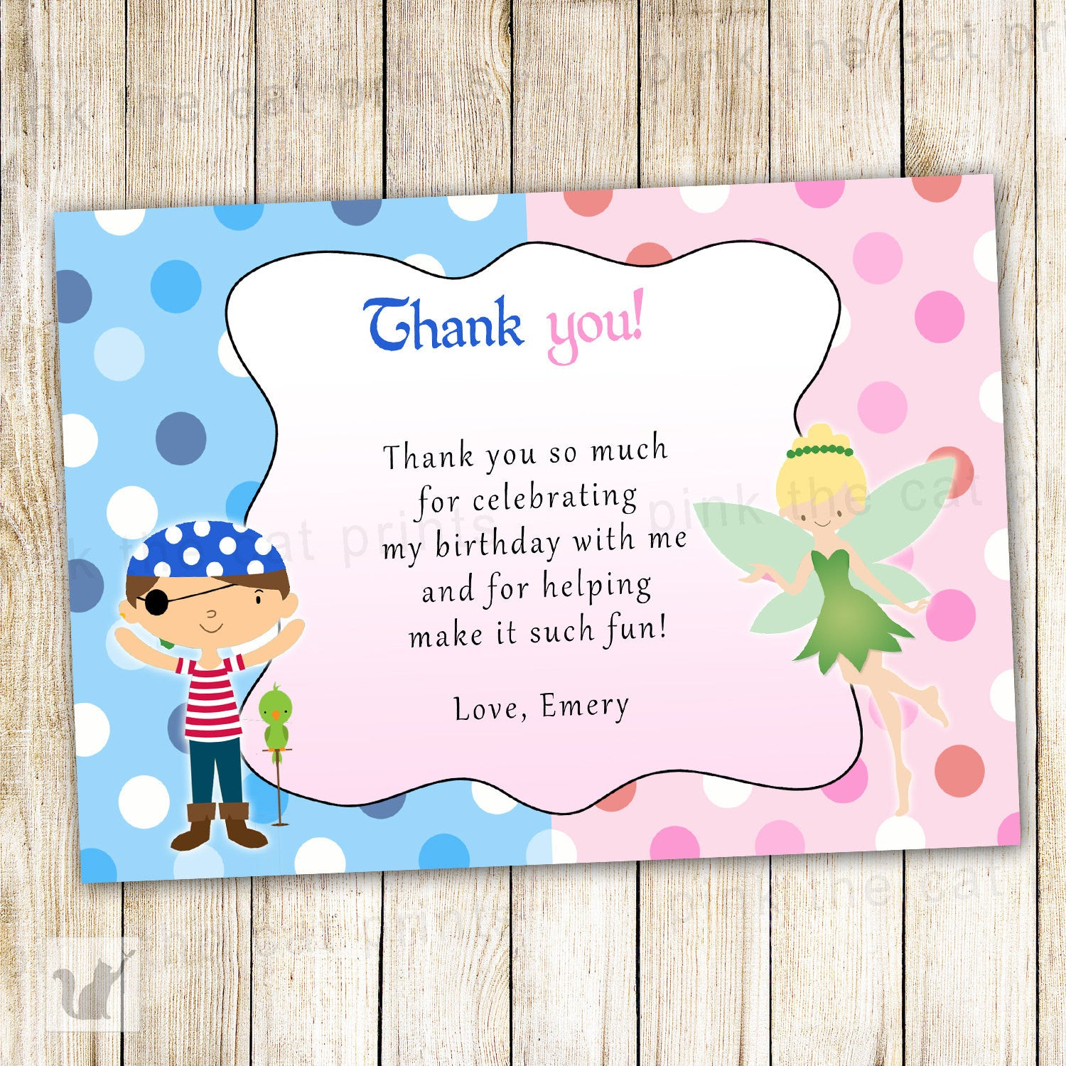Pirate Fairy Thank You Card Note Kids Birthday Party – Pink The Cat