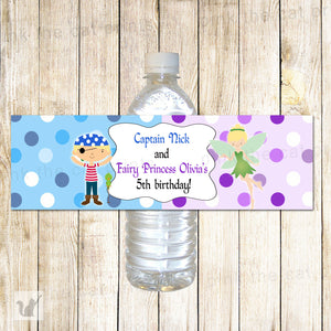 Pirate Fairy Bottle Label Blue Purple Kids Birthday