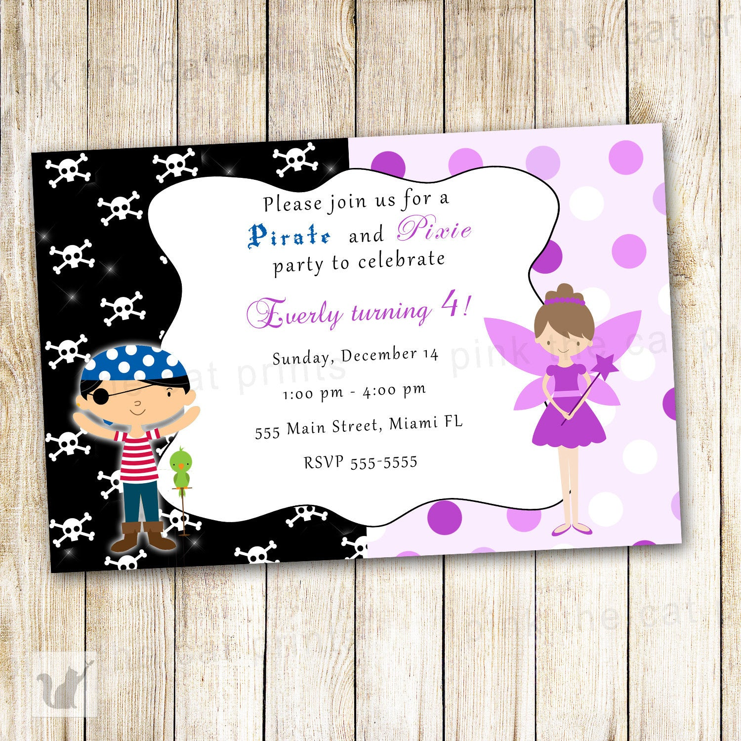 Fairy Pirate Invitation Kids Costume Birthday Party Purple Pixie ...