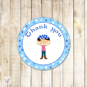 Pirate Labels - Blue Thank You Gift Favor Tags Birthday Party Baby Boy Shower Printable INSTANT DOWNLOAD