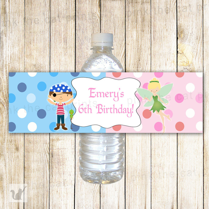 Pirate Fairy Bottle Label Kids Birthday Pink Blue