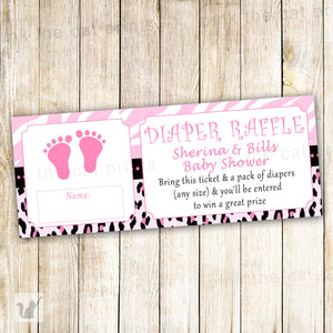 Diaper Raffle Card Ticket Baby Girl Shower Pink Feet Zebra Jungle
