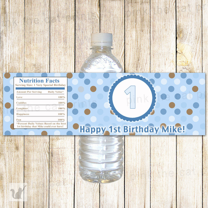 Blue Brown Bottle Label Boy Birthday