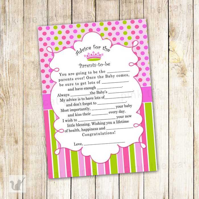Princess Advice Card Baby Shower Pink Green