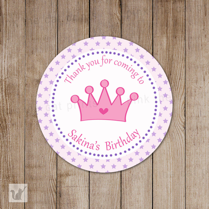 Purple Pink Star Princess Thank You Tag Label Favor Sticker Girl Birthday