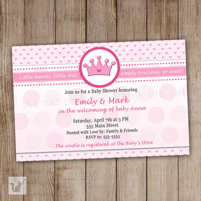 Princess Invitation Baby Girl Shower Birthday Party Pink