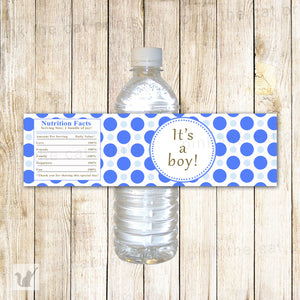 Baby Boy Shower Water Bottle Label Wrapper Blue Polka Dots