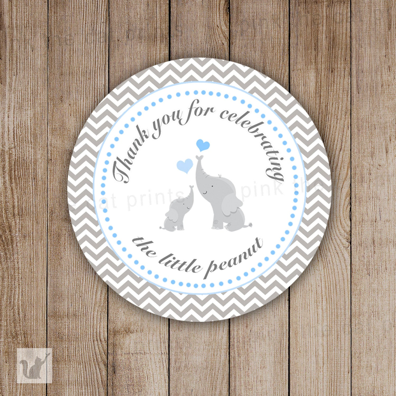 INSTANT DOWNLOAD Grey Chevron Elephant Baby Shower Thank You Tag Labels    Polka Dots Party Favors Baby Shower Favors Baby Shower Tags