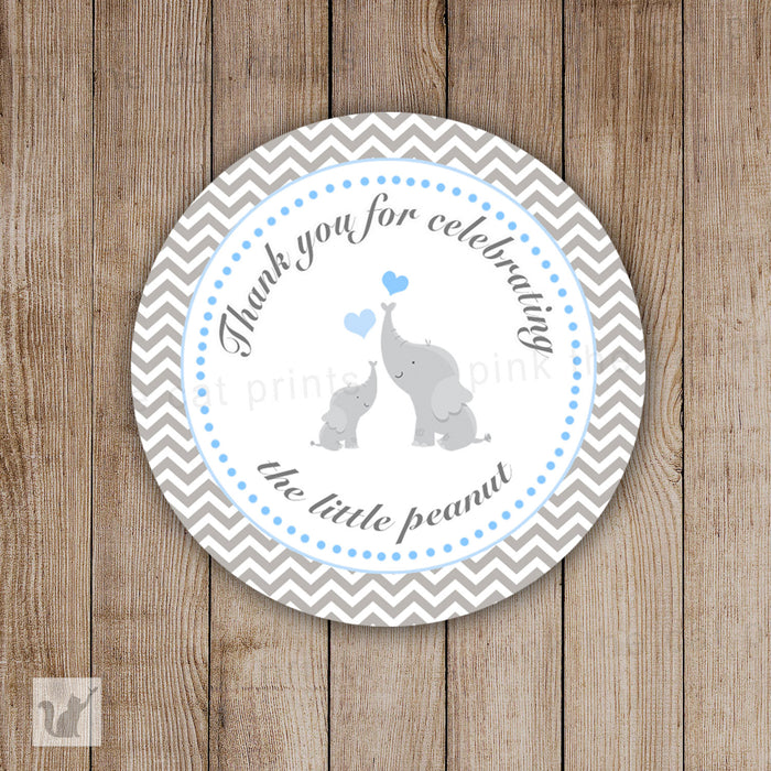 INSTANT DOWNLOAD Grey Chevron Elephant Baby Shower Thank You Tag Labels - Polka Dots Party Favors Baby Shower Favors Baby Shower Tags