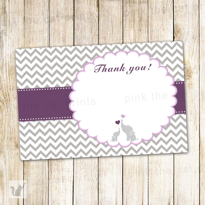 Elephant Thank You Card Baby Girl Shower Note Purple Grey