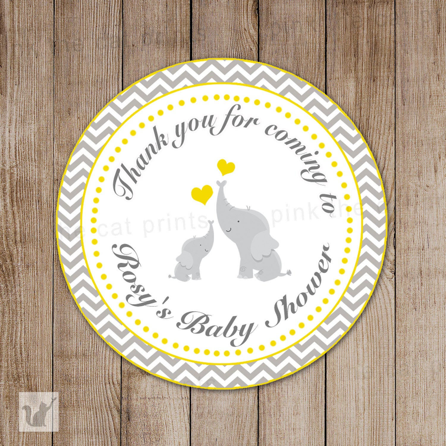 Yellow Grey Elephant Baby Shower Thank You Tag Sticker Favor Label