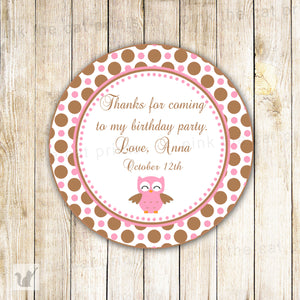 Owl Label Baby Girl Shower Birthday Sticker Tag Pink Brown
