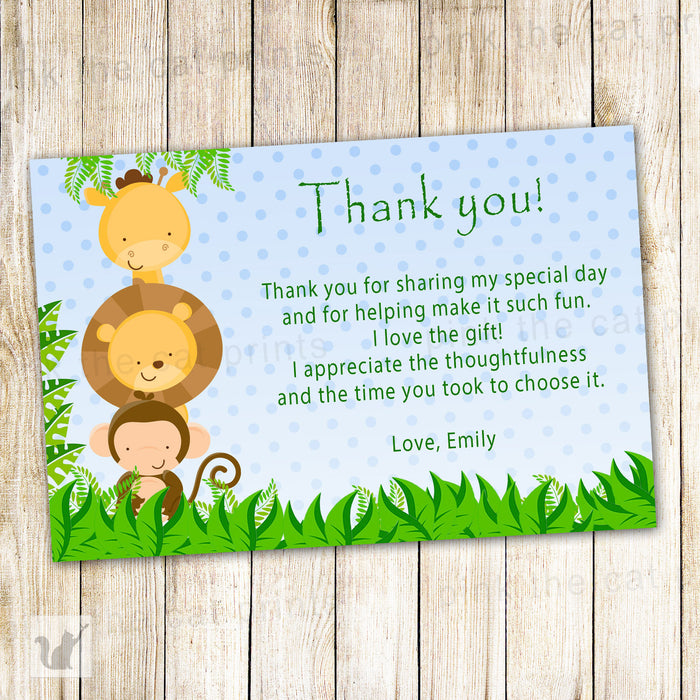 Jungle Thank You Card Note Baby Shower Boy Birthday Blue