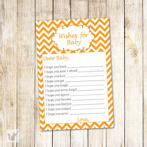 Wishes for Baby Card Orange Chevron