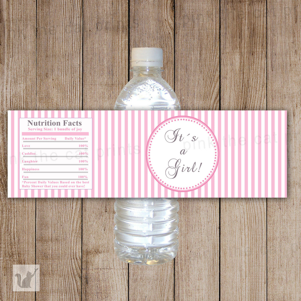 Baby Girl Shower Bottle Labels Pink White Stripes