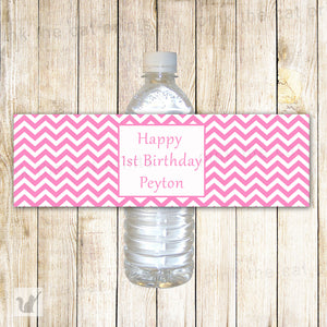 Pink Chevron Bottle Label Birthday Baby Shower