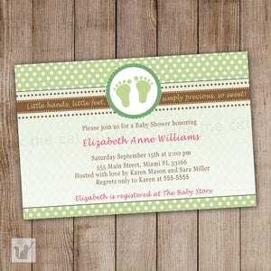 green brown feet baby shower invitation