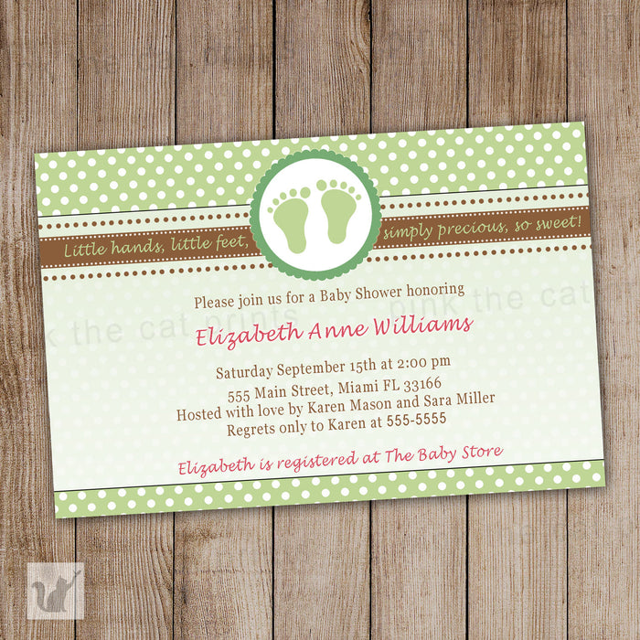 Green Brown Feet Unisex Baby Shower Invitation