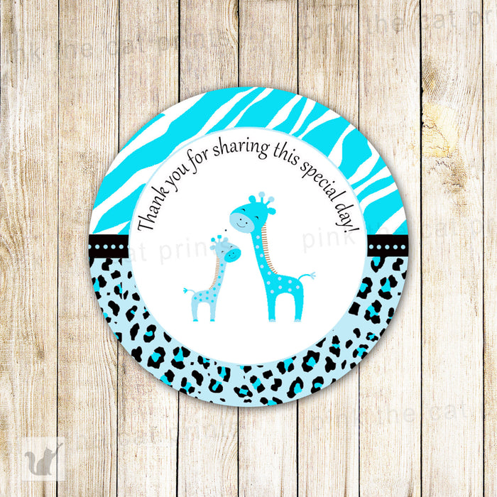INSTANT DOWNLOAD Turquoise Giraffe Baby Shower Party Thank You Tag - Jungle Leopard Zebra Party Favors Baby Shower Favors Party Decorations