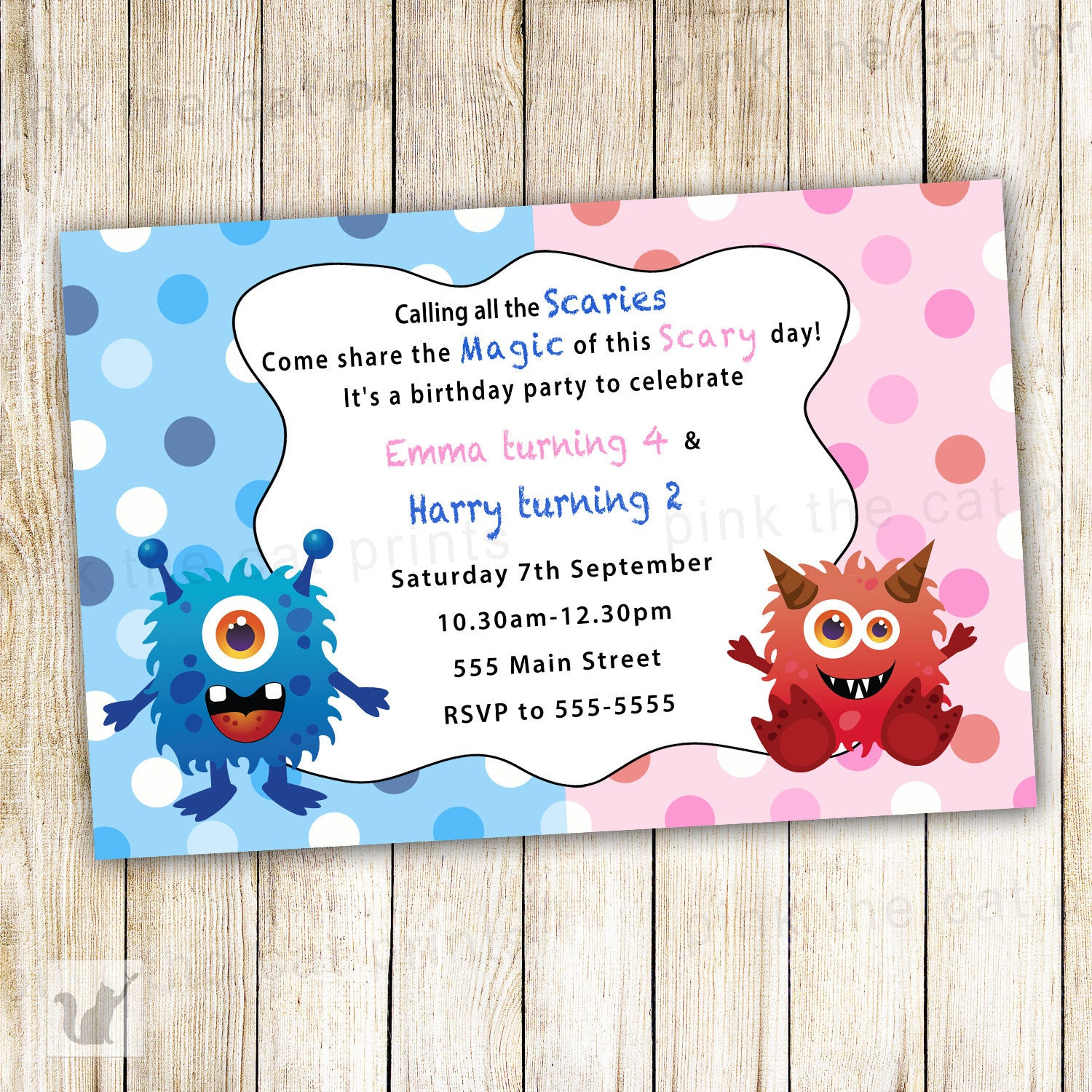 Little Monsters Invitation Kids Birthday Party – Pink The Cat