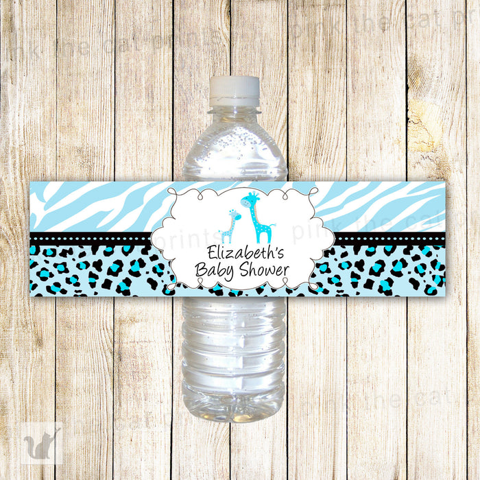 Giraffe Bottle Label Turquoise Blue Baby Shower