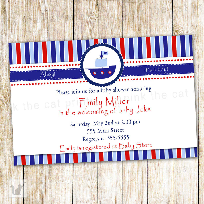 Nautical Invitation Baby Boy Shower Blue Red