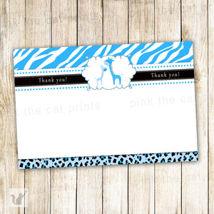 INSTANT DOWNLOAD Blue Giraffe Baby Shower Boy Blank Thank You Card - Zebra Leopard Jungle Safari Design Handwritten Notes