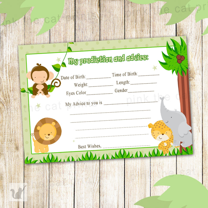 Green Jungle Prediction And Advice Card Baby Boy Shower