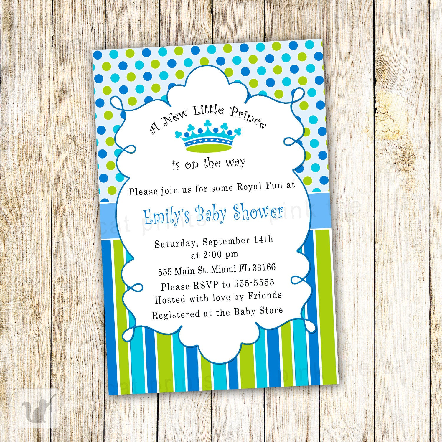 New little prince baby boy shower invitation blue green pink the cat a new little prince baby shower invitation filmwisefo