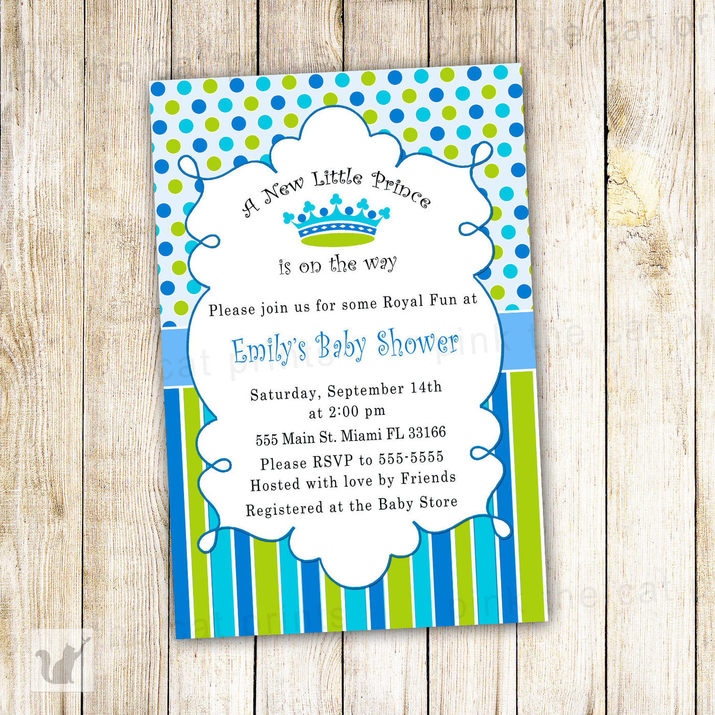 New Little Prince Baby Boy Shower Invitation Blue Green Pink The Cat