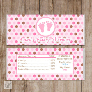 Baby Girl Shower Candy Bar Wrapper Label Pink